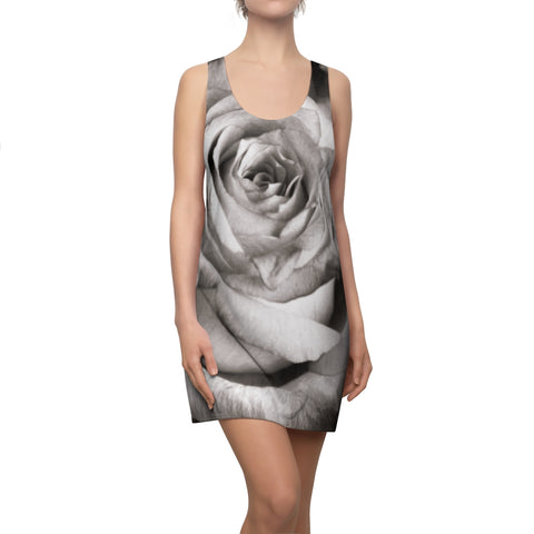 Black and White Rose Women's Cut & Sew Racerback Dress - Jim N Em Designs