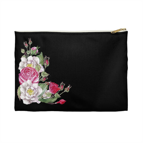 Pink Watercolor Roses Zipper Accessory Pouch, Makeup Bag, Makeup Pouch, Zipper Bag - Jim N Em Designs