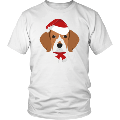 Beagle with Santa Hat Christmas T-Shirt - Jim N Em Designs