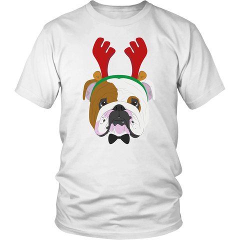 English Bulldog Christmas T-shirt Reindeer Antler Hat - Jim N Em Designs