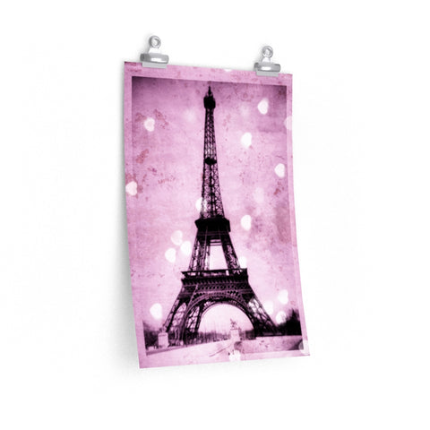Eiffel Tower Pink Hearts Photo Print Nursery Girl Wall Art Premium Matte vertical poster - Jim N Em Designs