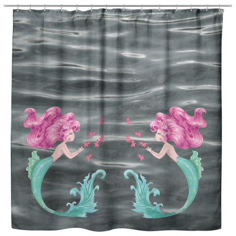 Beautiful Mermaid Pink Hair Goldfish Water Ripples Shower Curtain - Jim N Em Designs