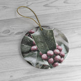 Snowy Holly Ceramic Ornaments - Jim N Em Designs