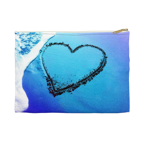Heart in the Sand Ocean Wave Beach Foam Accessory Makeup Zipper Bag Pouch - Jim N Em Designs