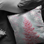 Christmas Throw Pillow Pink and Gray Christmas Tree with Snowflakes - Jim N Em Designs