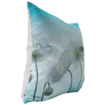 Aqua and White Poppy Poppies Floral Flowers Throw Pillow Home Decor - Jim N Em Designs