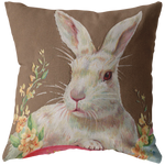 Vintage Easter Rabbit Postcard Throw Pillow - Jim N Em Designs