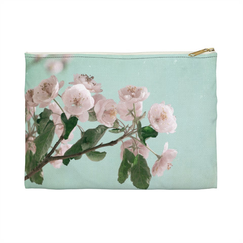 Pink Cherry Blossom Aqua Sky Makeup Bag, Zipper Pouch, Accessory Pouch - Jim N Em Designs