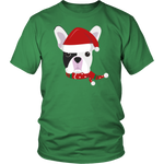 French Bulldog Christmas T-shirt Santa Hat - Jim N Em Designs