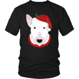 Bull Terrier in Santa Hat Christmas T-shirt - Jim N Em Designs