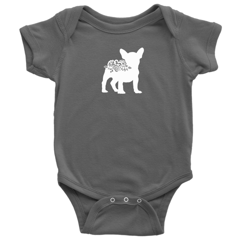 Frenchie French Bulldog Floral Baby Bodysuit Color Style Variety - Jim N Em Designs