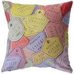 Vintage Pastel Bicycle License Plates Throw Pillow Home Decor - Jim N Em Designs