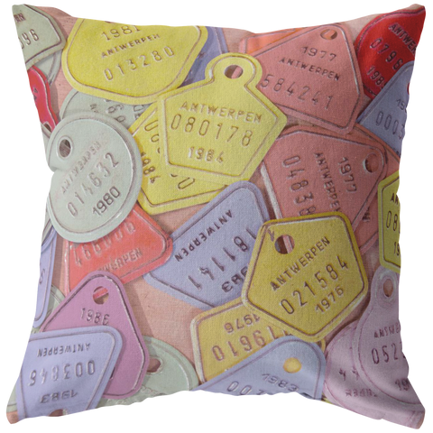 Vintage Pastel Bicycle License Plates Throw Pillow Home Decor