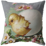 Easter Chick Egg Pussy Willow Pink Flowers Throw Pillow - Jim N Em Designs