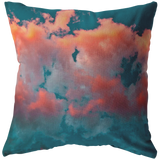 Pink Cotton Candy Clouds Teal Sky Background Throw Pillow - Jim N Em Designs