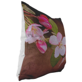 Pink Crabapple Brown Throw Pillow Flower Floral Garden Spring Bloom Blossom - Jim N Em Designs