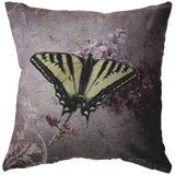 Butterfly Tiger Swallowtail Pink Lilac Texture Throw Pillow Home Decor - Jim N Em Designs
