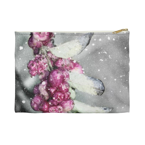 Fuschia Snowberries in Snow Accessory Makeup Bag Zipper Pouch - Jim N Em Designs
