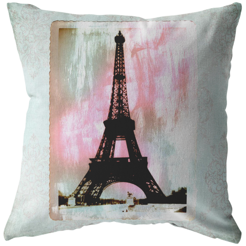 Eiffel Tower Paris Brush Stroke Aqua Damask Throw Pillow Home Decor - Jim N Em Designs