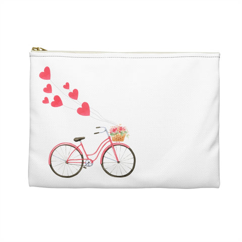 Pink Heart Balloons Bicycle Zipper Accessory Pouch, Makeup Bag, Zipper Pouch - Jim N Em Designs