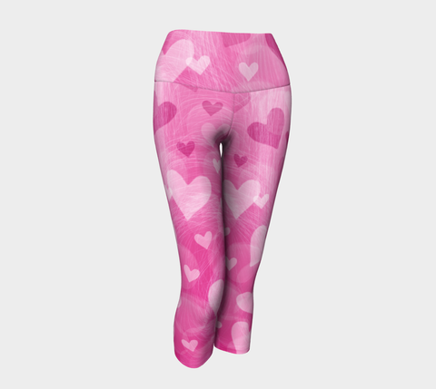 Pink Hearts Yoga Capri Pants - Jim N Em Designs