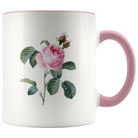 11 oz Accent Mug Colored Handle Cabbage Rose
