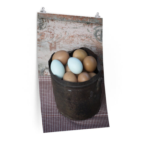 Fresh Eggs Brown Blue Rustic Rusty Can Kitchen Art Poster