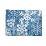 Blue Snowflakes Accessory Pouch Makeup Bag - Jim N Em Designs