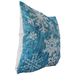 Blue Sparkly Snowflakes Throw Pillow Home Decor Winter Christmas - Jim N Em Designs