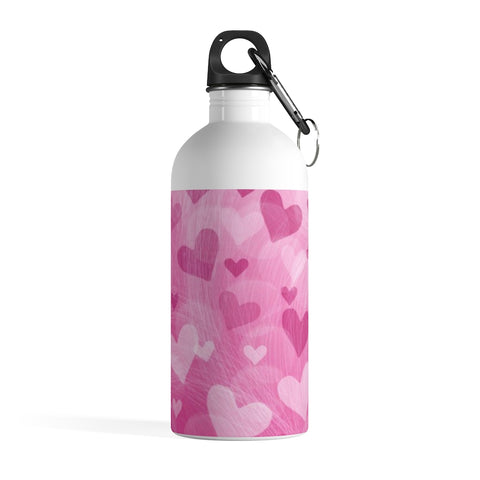 Pink Hearts Stainless Steel Water Bottle - Jim N Em Designs
