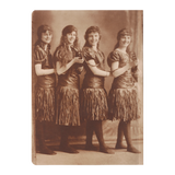 1920s Antique Vintage Sepia Photograph Flapper Women in Grass Skirts with Ukuleles - Jim N Em Designs