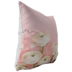 Pink Ranunculus Throw Pillow Garden Flower Floral Home Decor - Jim N Em Designs