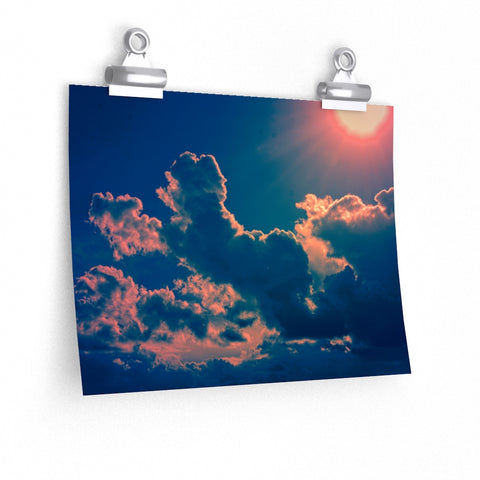 Sun and Clouds Pink Blue Sky Art Photo Premium Matte horizontal poster - Jim N Em Designs