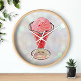 Pink Strawberry Ice Cream Sundae Wall clock - Jim N Em Designs
