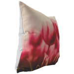 Rosy Tulips Peppermint Stripe Throw Pillow Flower, Floral Garden - Jim N Em Designs
