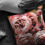 Watercolor Roses Earth Tone Throw Pillow - Jim N Em Designs
