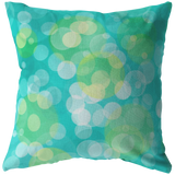 Aqua and Yellow Bokeh Circles Throw Pillow Abstract Home Decor - Jim N Em Designs