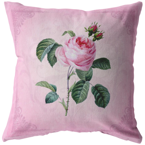 Pink Cabbage Rose Throw Pillow Shabby Room Victorian Decor