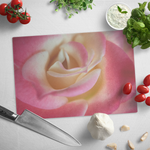 Pink and White Rose Macro Close Up Petals Glass Cutting Board Kitchen Decor Gift - Jim N Em Designs
