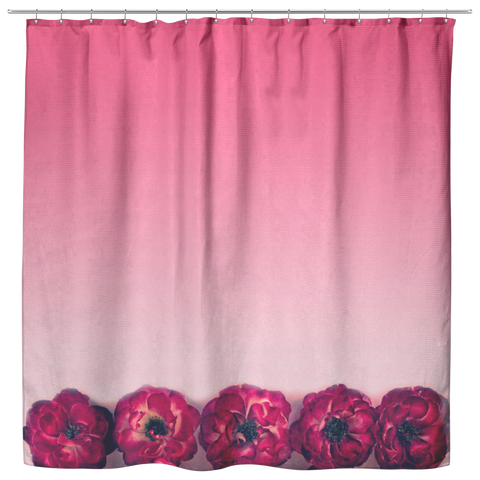 Rose Gradient Shower Curtain Pink Ombre Shabby Roses Garden Home Decor - Jim N Em Designs