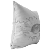 Sunflower Sketch Black and White Throw Pillow - Jim N Em Designs