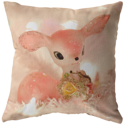 Pink Retro Vintage Deer Christmas Tree Lights Throw Pillow Home Decor - Jim N Em Designs