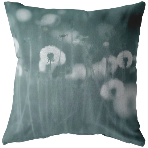 Teal Dandelion Flower Field Throw Pillow Home Decor - Jim N Em Designs