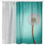 Aqua Dandelion Shower Curtain Block Print Gradient Ombre Garden Floral Home Decor - Jim N Em Designs