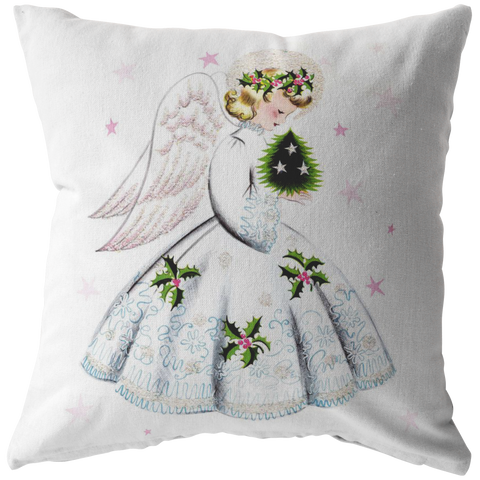 Christmas Pink Angel Holly Stars Throw Pillow Home Decor - Jim N Em Designs