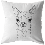 Llama Portrait Head Shot Sketch Throw Pillow - Jim N Em Designs