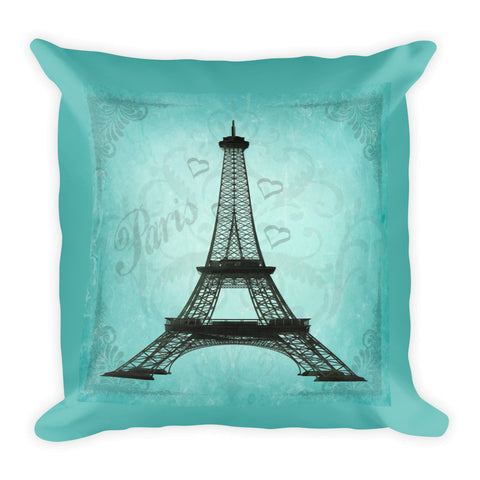 "Paris Eiffel Tower Hearts Aqua Background Throw Pillow 18x18"" - Jim N Em Designs"