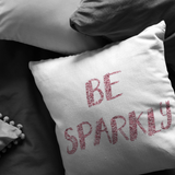 Be Sparkly Pink Foil Throw Pillow - Jim N Em Designs