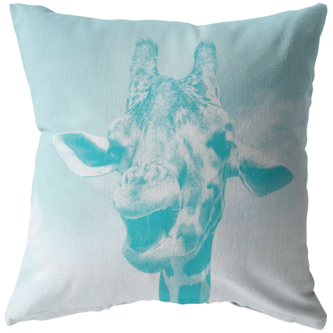 Laughing Giraffe Aqua Throw Pillow Zoo, Wildlife, Africa - Jim N Em Designs