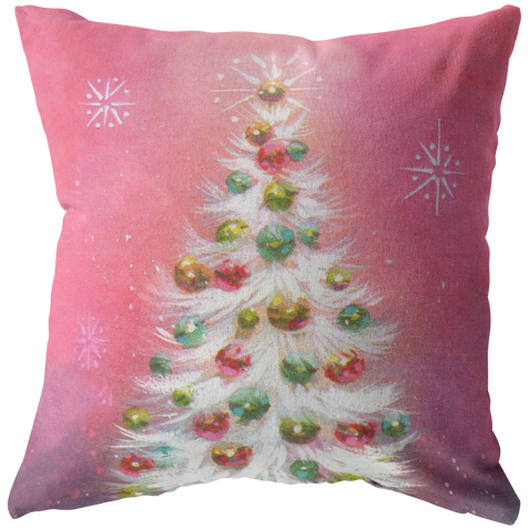 Vintage 1950s Pink White Christmas Tree Throw Pillow Home Decor - Jim N Em Designs